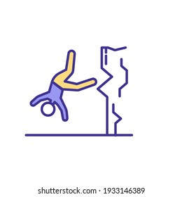 Falls from heights RGB color icon. Falling from high-rise building. Getting bodily injuries. Construction industry accidents. Personal trauma at workplace. Isolated vector illustration