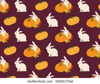 fall's pattern with rabbite and pumpkin