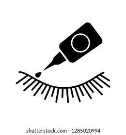 a6b5b1d2611 False eyelash glue glyph icon. Silhouette symbol. Lash adhesive. Temporary  and permanent eyelashes