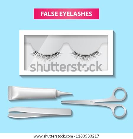 29400b7fb6e False Eyelashes Box Glue Vector Illustration Stock Vector (Royalty ...