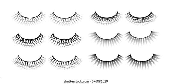 False eyelashes. Fake the cilia. A collection of six sets.