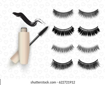 False eyelashes set, mascara tube and brush with black grunge swatch line, vector illustration. Woman's cosmetics concept on pattern with hearts.