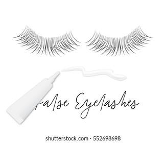 4e253d257c9 False eyelashes vector concept, realistic glue tube, lashes and hand drawn  text.Long