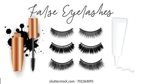 a83d75c2e01 False eyelashes vector set, gold mascara tube, brush, glue tube with stroke,