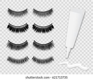 a84cc04c474 False eyelashes and white glue tube isolated on transparent background, vector  illustration. Woman's realistic