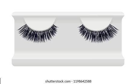 False lashes vector illustration set. Female eyelashes collection. Woman beauty product design. Trendy fashion illustration for mascara pack. Eyelash storage case tray box container holder.