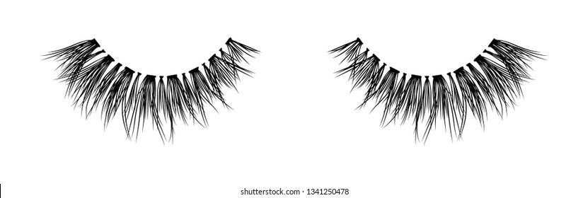 False lashes vector illustration set. Female eyelashes collection. Woman beauty product. Trendy fashion illustration for mascara pack or beauty products design.