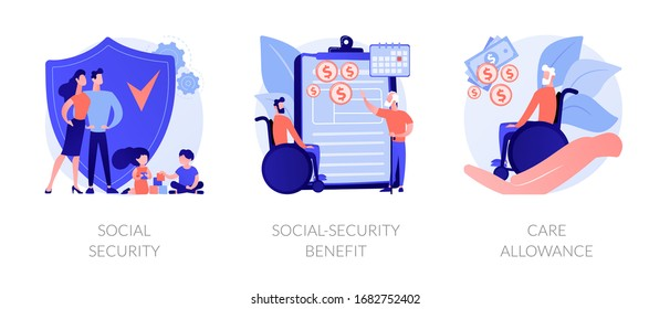 Families with children protection. Disabled and retired people financial support. Social security, social-security benefit, care allowance metaphors. Vector isolated concept metaphor illustrations