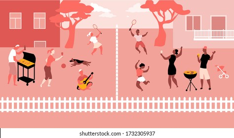 Families having barbecue at their suburban backyards and greeting neighbors, practicing social distancing, EPS 8 vector illustration