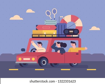 Families leave their vacations with loads of car roof. flat design style minimal vector illustration