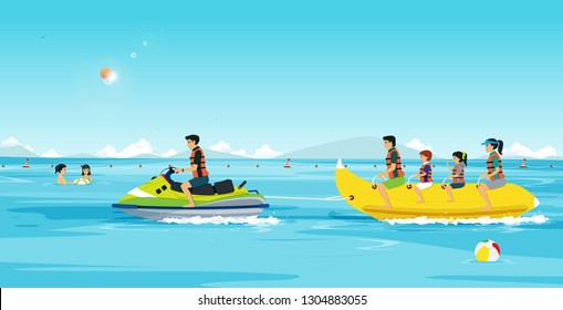 Families are playing Banana Boat and Jet Ski.