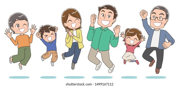 Family of 6 jumps happily