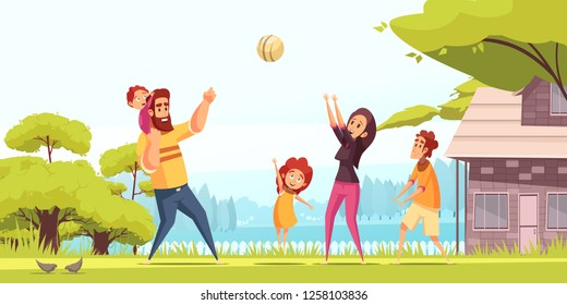 Family active holidays happy parents with kids during playing ball at summer outdoors cartoon vector illustration