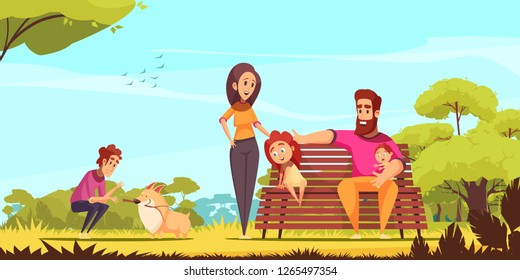 Family active holidays parents kids and dog in summer park on blue sky background cartoon vector illustration