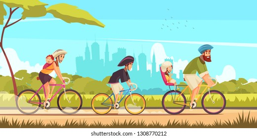 Family active holidays parents and kids during bicycle ride on  background of city silhouettes cartoon vector illustration
