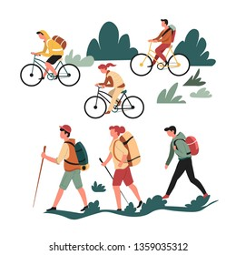Family active pastime hiking walking and riding bicycle vector hobby bike and backpack stick trekking and backpacking sport and recreation outdoor activity healthy lifestyle hikers with rucksacks.