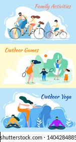 Family Activities. Outdoor Games. Yoga Practice Banner Set. Cartoon Man and Woman Meditate. Asana Training. Parent Children Play Badminton, Ride Bycicle Summer Travel Vector Illustration