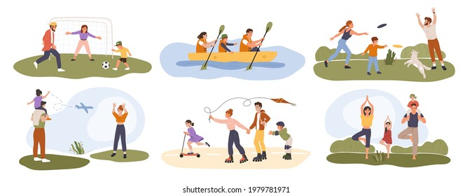 Family activity. Happy parents playing sports games with their children. Healthy family activities, summer outdoor recreation vector set. People playing football, frisbee, roller skating - Shutterstock ID 1979781971