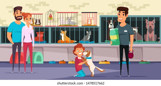 Family adopting puppy flat vector illustration. Young couple, happy child and pet shop worker cartoon characters. People in animal shelter, parents buying dog for kid. Nurslings in cages