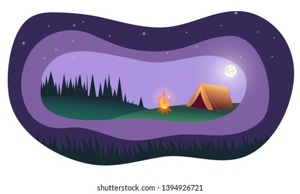 Family Adventure Camping Evening Scene. Tent, Campfire, Pine forest, starry night sky with moonlight