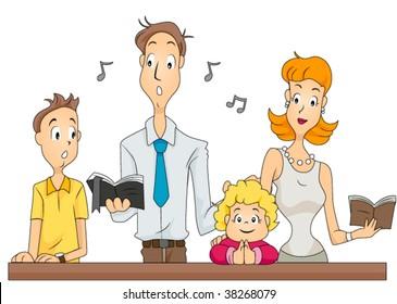 Family attending Mass - Vector