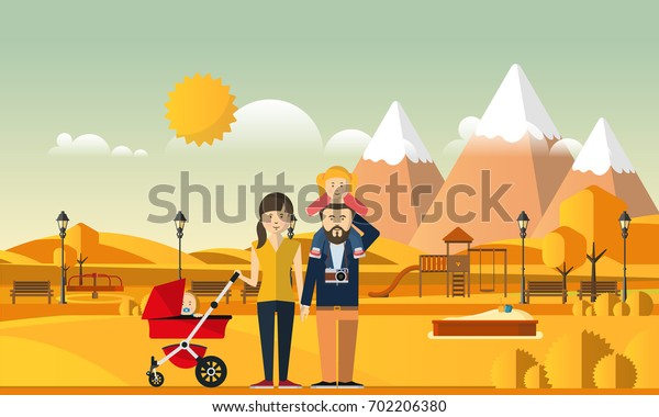 Family Autumn Background. Happy family in autumn park.