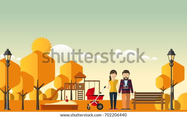 Family Autumn Background. Happy family in autumn park.