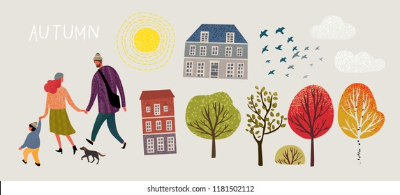 Family in autumn, create your cute card! Set of vector elements: family, mom, dad, son, dog, birds, sun, clouds, buildings, trees
