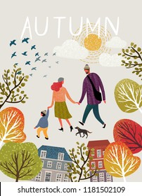 Family in autumn, Vector illustration of a happy family in the autumn on a walk around the city, mom, dad, baby and dog stroll through the park