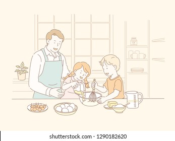 Family baking together in the kitchen in line style illustration