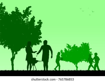 Family barbecue and picnic in the garden silhouette, one in the series of similar images.  Layered vector illustration