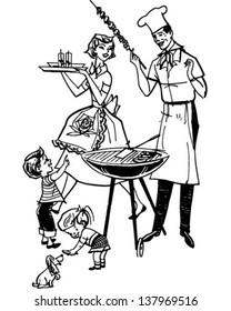 Family Barbecue - Retro Clip Art Illustration