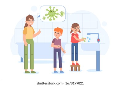 Family Bathroom Washing Hands. Cute little girl washing her hands with soap, boy with dirty hands and woman talking about viruses. Vector illustration