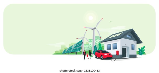 Family battery electric car charging at home charger station renewable energy storage with wind solar panels power station and city skyline. Charge on house wall box EV charger. Space for your text.