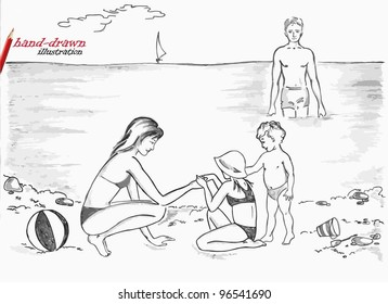 family at the beach - hand-drawn illustration