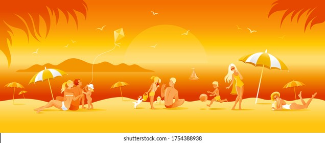 Family beach vacation banner. Summer sea travel background in cartoon style. People fun vector illustration. Happy woman, man, children, kid with sunset beach landscape pattern. Outdoor lifestyle