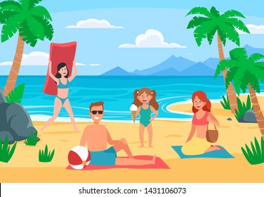 Family beach vacation. Young family with happy kids sunbathing on sand beach, summer seashore. Romantic beach holidays, family surfing kids and parents ocean vacation cartoon vector illustration