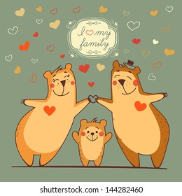 Family bears with the flying hearts and decorative frame, illustration