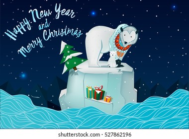 Family of bears on an ice floe in the new year.