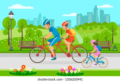 Family Bike Ride through City Park in Summer. Flat Vector Illustration Riding Tandem Ride Dad and Mom Next to Small Childrens Bike Riding Girl in Pink Clothes and Protective Bicycle Helmet.