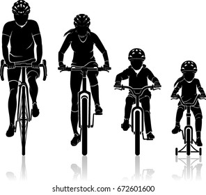 Family Biking Silhouette Front View