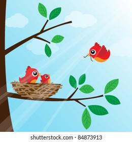 Family bird feeding