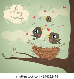 Family of birds over the nest with notes, hearts and decorative frame, illustration