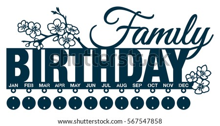 Family Birthday Calendar Blossom Cherry Branch Stock Vector Royalty