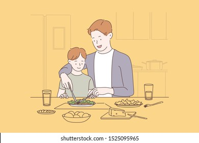 Family bonding, happy parenting concept. Father teaching son to use fork and knife, cheerful dad showing child table etiquette, manners with tableware. Simple flat vector