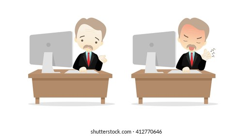 Family business cartoon character playing desktop personal computer PC in different emotions faces on White background.- vector illustration