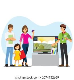 Family buying TV in a electronic store , Appliance Sales .cartoon illustration