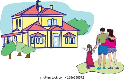 A family buys a new home. Happy newcomers. The choice of real estate. Buying a new apartment building. Vector illustration. home loan.