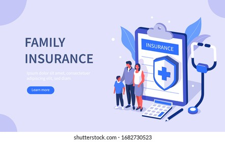 Family Calculate and Sign Health Insurance Policy Contract. People having Examination in Hospital Office and filling Medical Document Form. Health Care Concept. Flat Isometric Vector Illustration.