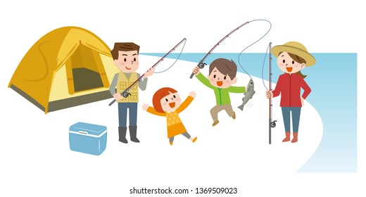 family camping and fishing